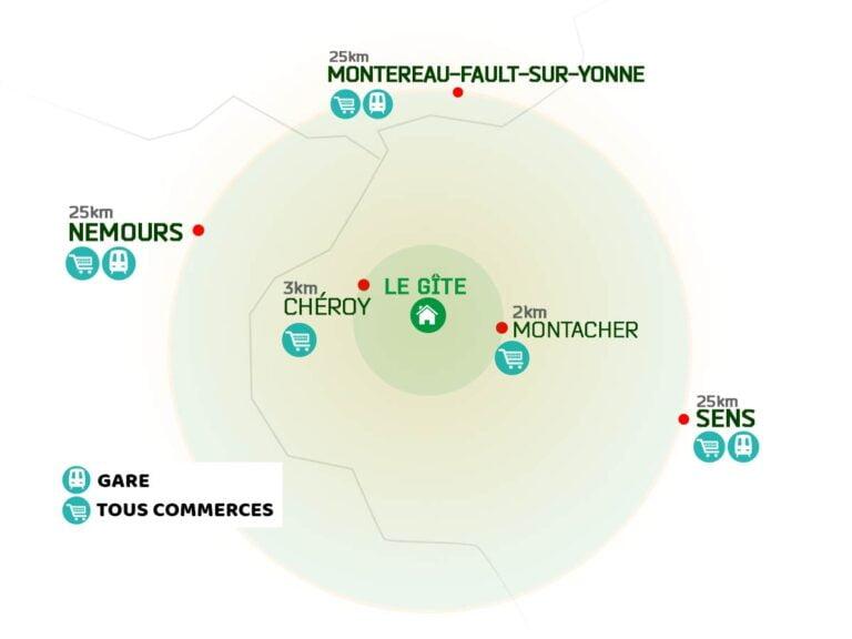 Plan des environs du gite